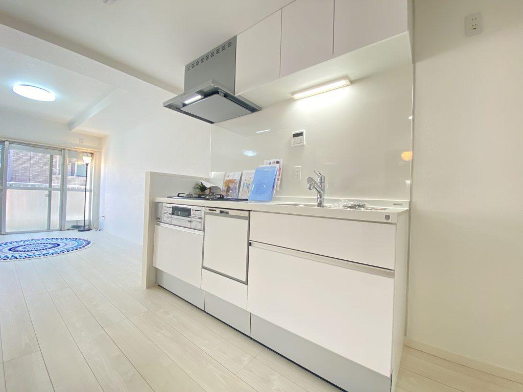 システムキッチンも白でコーディネイトしています。食洗機付きなので家事の時短が実現します。