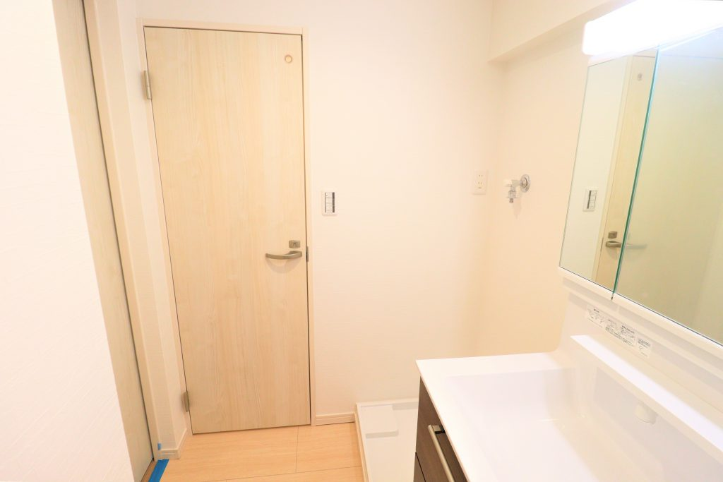 洗面室の様子です。室内洗濯機置き場もこちらにあります。
