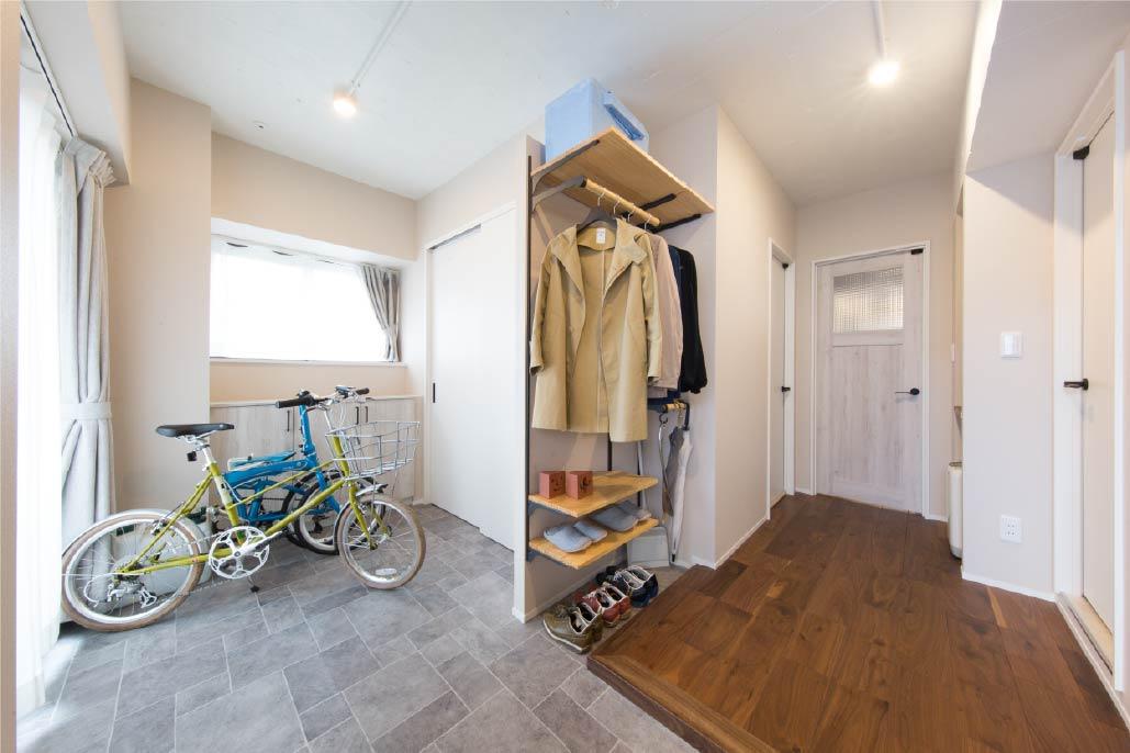 自転車が収納できる土間玄関