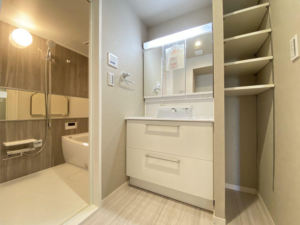 洗面化粧台の様子です。便利な収納付きです。リネン類や洗剤等のボトル収納にもお使い頂けます。